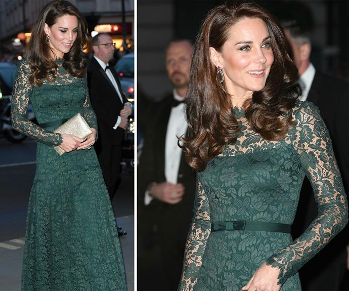 **March 28:** The Duchess of Cambridge attended a [gala](http://www.nowtolove.com.au/royals/british-royal-family/duchess-catherine-visits-national-portrait-gallery-gala-36339) at the National Portrait Gallery in London in an emerald gown by Temperley London.