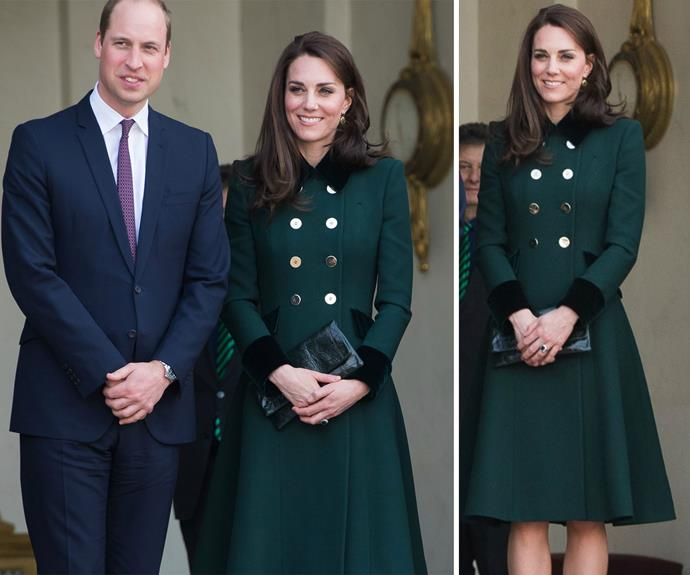 "**March:** The [Duke and Duchess arrive in Paris](http://www.nowtolove.com.au/royals/british-royal-family/prince-william-and-duchess-catherine-paris-tour-36063|target=""_blank"") ahead of their whirlwind trip with Kate in an emerald Catherine Walker coat, one her favourite colours."