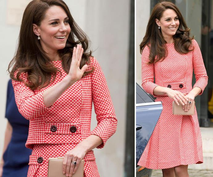 **March 24:**Kate opted for a red gingham two-piece designed by Eponine London for her visit to the Royal College of Obstetricians and Gynaecologists.