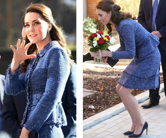 **February 28:** Duchess Catherine wore a trusty wardrobe staple, her blue Rebecca Taylor skirt and jacket set, to the opening of the [Ronald McDonald House Evelina]((http://www.nowtolove.com.au/royals/british-royal-family/duchess-of-cambridge-impresses-at-ronald-mcdonald-house-35507) in London.
