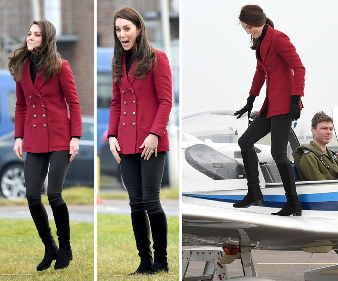 **February 14:** She stepped out for an engagement at the Royal Air Force base in Cambridgeshire, wearing a scarlet red, military-inspired peacoat by designer Philosphy Di Lorenzo Serafin.