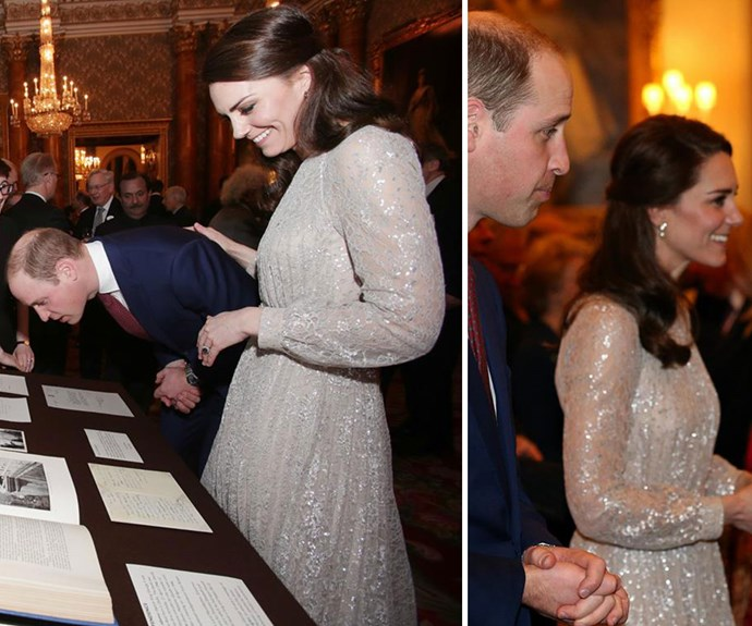 **February 27:** At a celebration for British and Indian culture held at Kensington Palace, Catherine wore a sparkling metallic and pink silk dress designed by Erdem for the occasion.