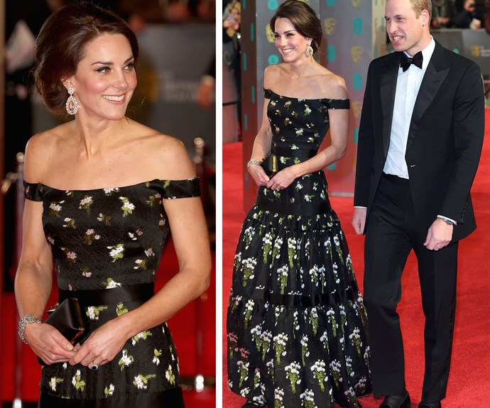 **February 13:** The Duchess stole the show at the 2017 BAFTA awards in February in a custom-made, floor-length gown from British designer Alexander Queen, who also designed her [wedding](http://www.nowtolove.com.au/royals/british-royal-family/william-and-catherines-official-wedding-pictures-2772) dress in 2011.