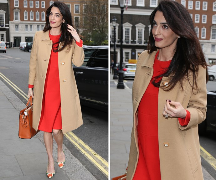 Amal was snapped in London on her way to give a speech about war crimes in Syria and Iraq on March 29, wearing a red shift dress and a camel coat which was perfect for the chilly spring weather. It was the last time she was seen publicly before  giving birth.