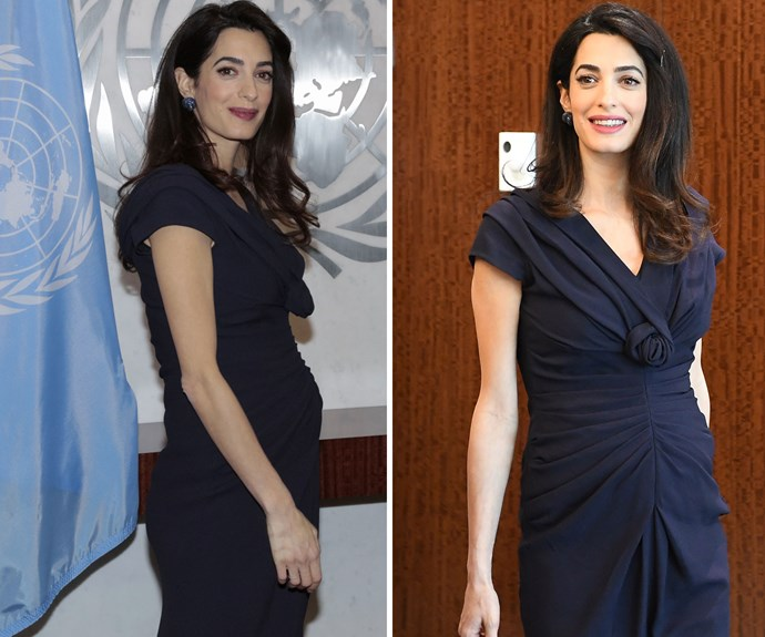 On March 10 Amal met with the Secretary-General of the United Nations António Guterres wearing a navy blue dress, with a rose detail and soft ruching over her prominent bump.