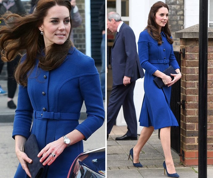 **January 11:** Duchess Catherine wore a gorgeous coat dress designed by Eponine when she visited the Anna Freud Children's Centre, her first official engagement of 2017.