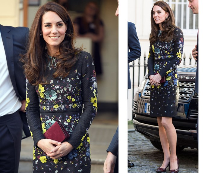**January 17:** Attending London's Institute of Contemporary Art, Catherine wore an Erdem dress to discuss her Heads Together [campaign](http://www.nowtolove.com.au/royals/british-royal-family/prince-william-duchess-catherine-and-prince-harry-come-together-to-talk-about-mental-health-33346).