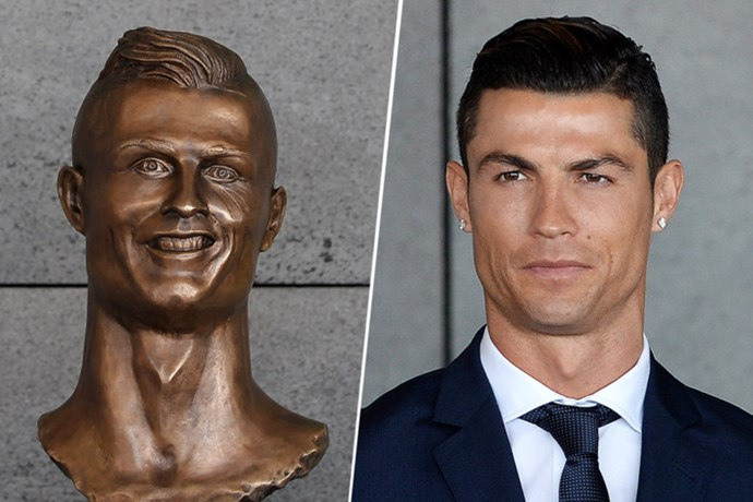 Ok, ok, this *technically* isn't a wax figure (more a downright monstrosity) but we had to include this statue of Cristiano Ronaldo. The soccer star returned to his home of Madeira, Portugal, where they're renaming an airport after him. They also unveiled this statue. Uncanny, right?!