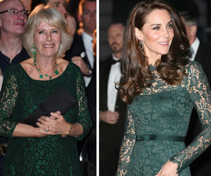 Camilla stepped out in her fetching number for the launch of the Panama Wildlife Conservation Charity, held at the Victoria and Albert Museum in London while Kate wore the Temperley London frock when she attended a gala at the National Portrait Gallery in the British capital.
