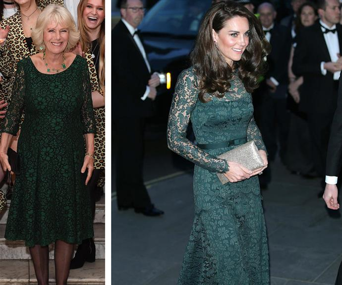 Stepping out for different royal engagements, Duchess Camilla *and* Duchess Catherine opted for emerald green lace ensembles. The near-identical frocks looked stunning on both of the royals.