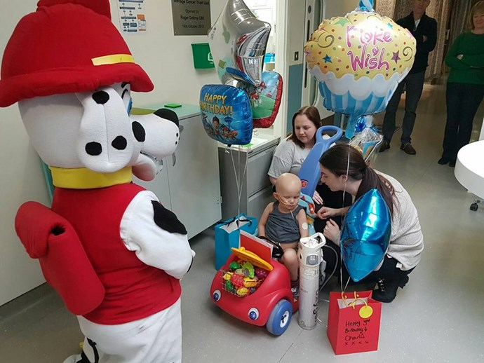 The little fighter celebrated his third birthday in hospital.