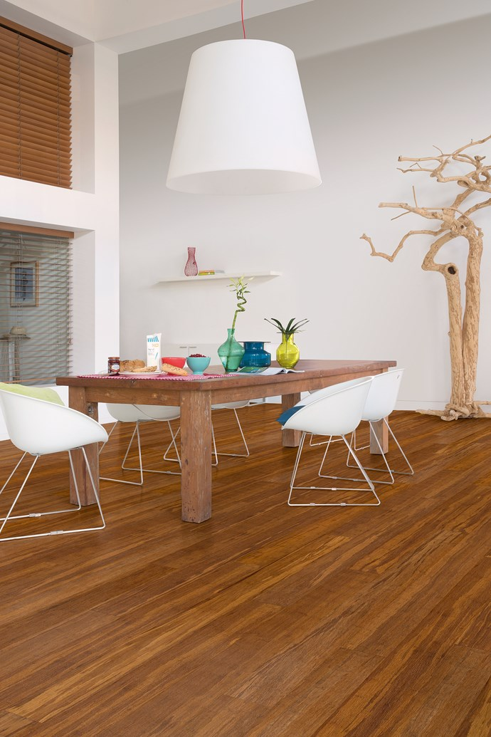 This minimalist dining space is a great place for the whole family to relax. We love the raw and neutral palette that's brought to life with pop accessories. [Bamboo flooring](http://www.quick-step.com.au/en-au/bamboo) is perfect for exposed high-traffic areas like this as it is an extremely strong and easy-to-care-for material finished with Scratch Resistant Technology (SRT). *Photo: Quick-Step*