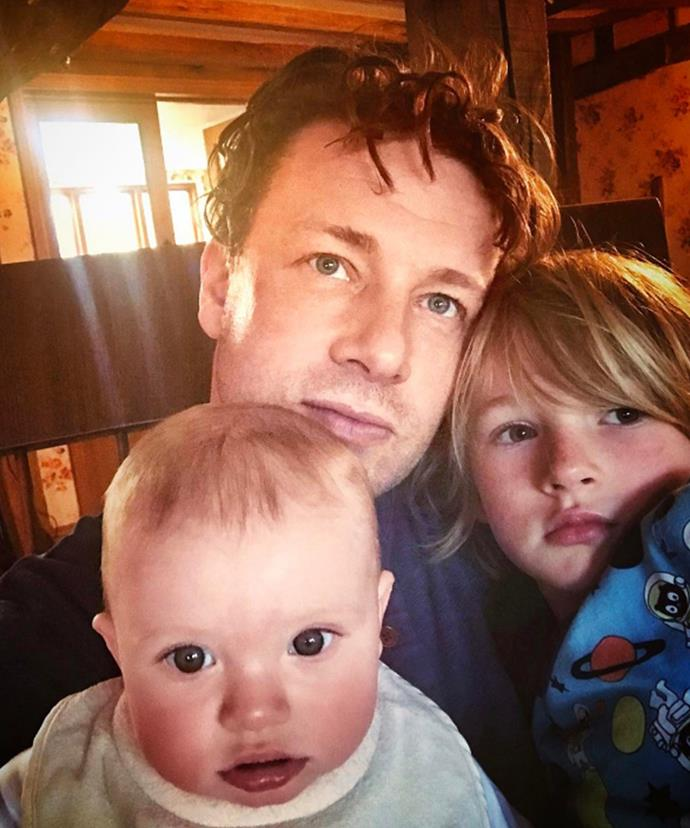 "The three musketeers! Jamie Oliver shares an adorable snap with sons Buddy Bear, six, and River Rocket, seven months. ""Just hanging out with the lads .... happy sunday guys xxxx"" the celebrity chef wrote."