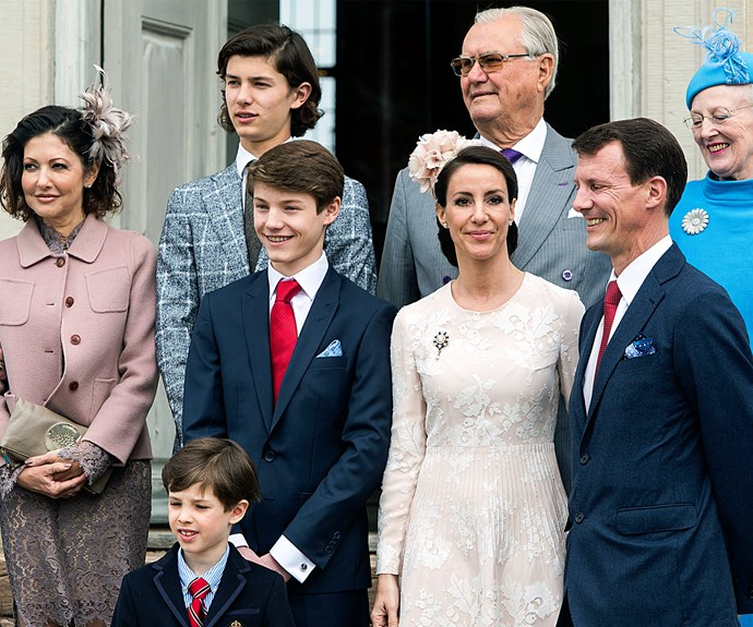 Prince Felix was flanked by his loved ones including mum Countess Alexandra (far left), grandparents Queen Margrethe, Henrik, Prince Consort of Denmark, big brother Prince Nikolai, his father Prince Joachim and stepmother Princess Marie.
