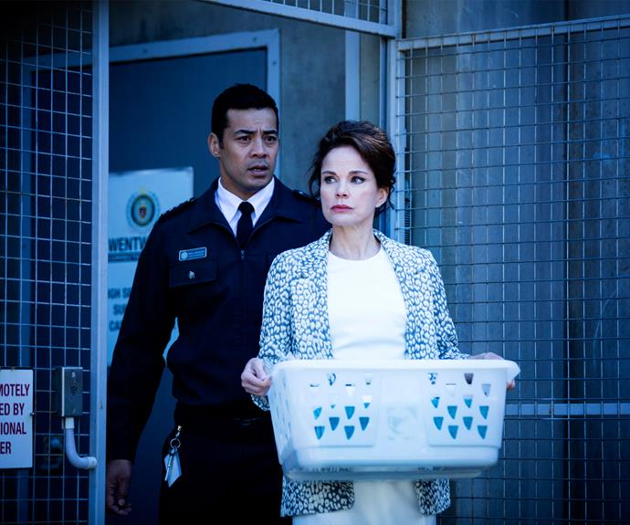 **A new prisoner:** Former *Prisoner* star, Sigrid Thornton, sure caused a stir when she arrived at Wentworth. Her character Sonia Stevens was suspected of murdering a missing woman.