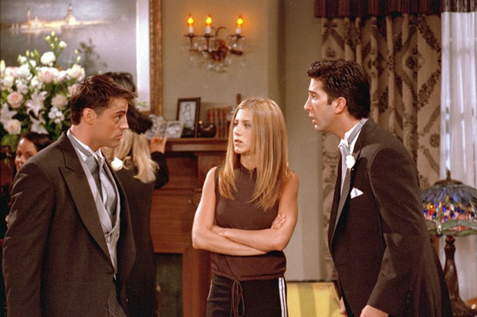 Jennifer Aniston with her *Friends* co-stars Matt LeBlanc and David Schwimmer.