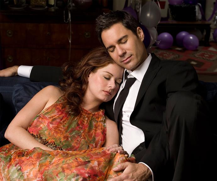 Debra Messing and Eric McCormack as Grace and Will.