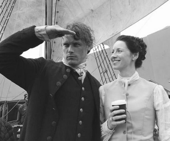 Sam and Caitriona aboard the ship. Where could they possibly be off to?