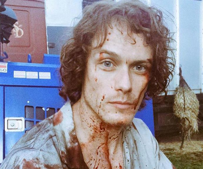 Sam still knows how to smoulder -  even when covered in blood.