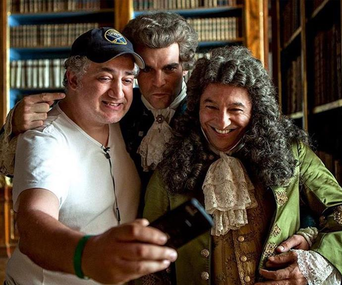 The crew and cast of *Outlander* love a set selfie.