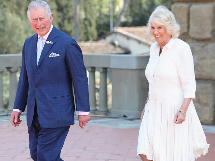 The Duchess of Cornwall dons a relaxed, white frock for a day of outings.
