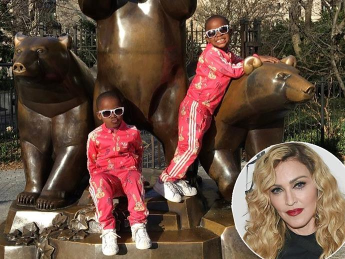 "Madonna has shared a rare look at her recently adopted four year old twins, Esther and Stella, as they enjoy a day out in Manhattan's Central Park. ""Sometimes it's best to be an I Don't Care Bear!"" the mother-of-six captioned the snap, where the Malawi-born sisters can be seen in matching red tracksuits."