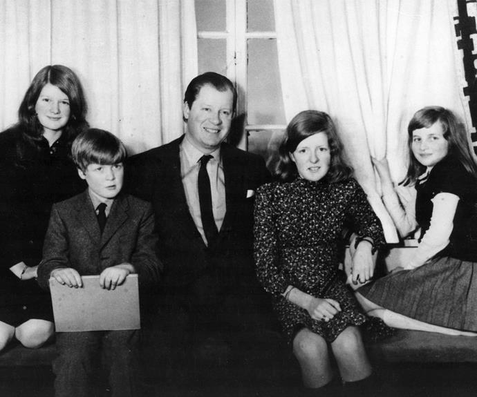(L-R) Sarah, Charles, their father John, Jane and Diana pictured at their Althorp home in the 1970s.