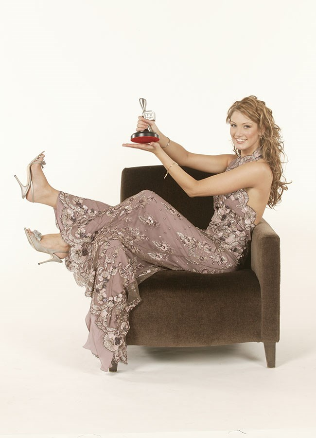 Delta Goodrem looking lovely in lace at the Logie Awards in 2003.