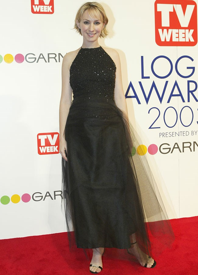 Lisa McCune in black sequins and taffeta at the 2003 Logies.
