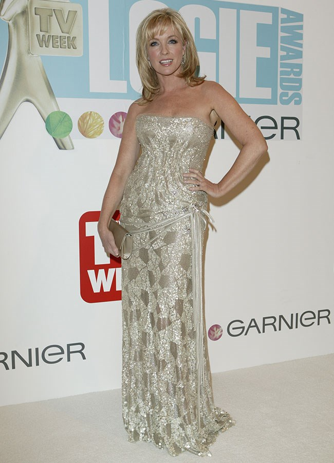 *Packed To The Rafters* star Rebecca Gibney glowing in a metallic dress at the Logie Awards in 2005.