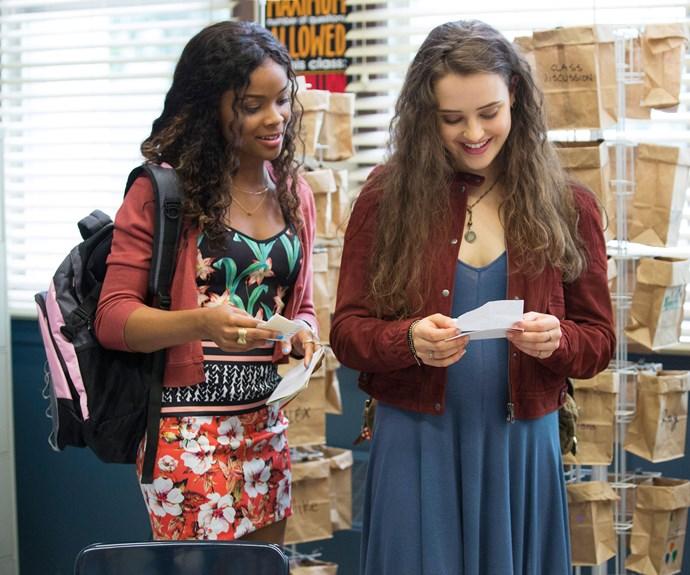 Ajiona Alexus as Sheri and Katherine Langford as Hannah.