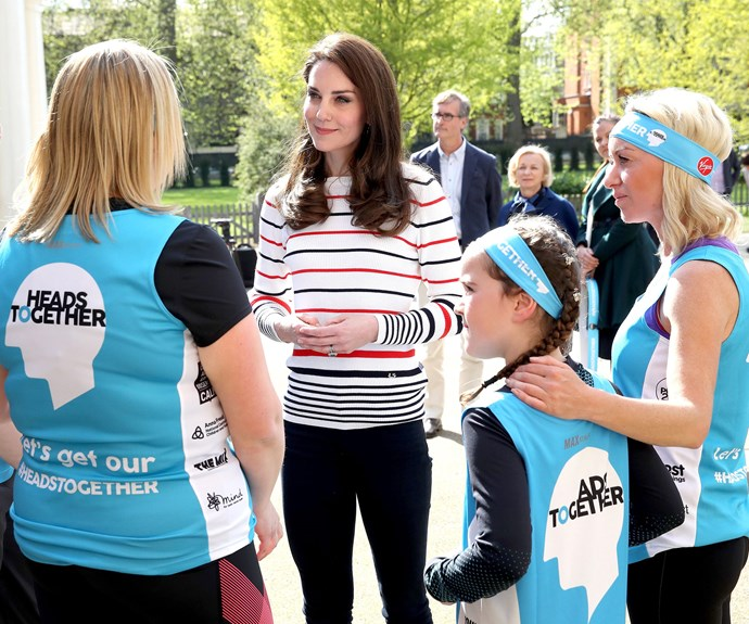 The mother-of-two chats to the punters who will be participating in the marathon on Sunday, April 23.