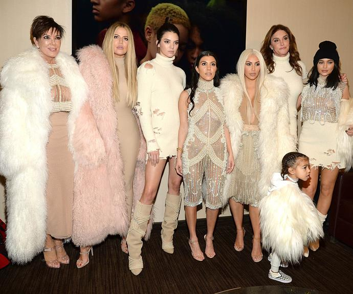 Kardashians during happier times at the Yeezy Season 3 show in 2016