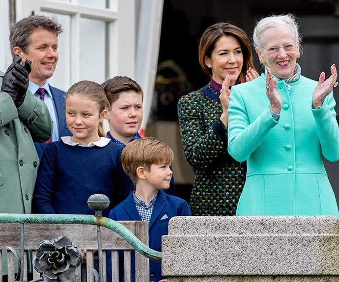 The woman of the hour, Queen Margrethe, looked elegant in an eye-catching aqua coat.