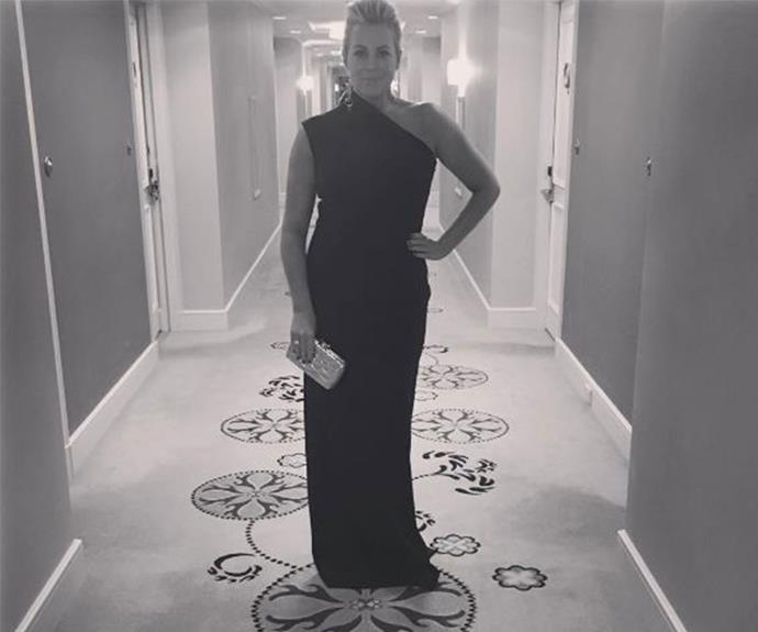 Sunrise's Samantha Armytage keeps things classic in a black off-the-shoulder dress.
