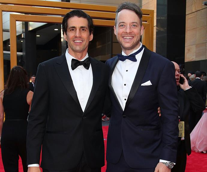 Radio's ultimate BFFs Hamish Blake and Andy Lee cuddle up.