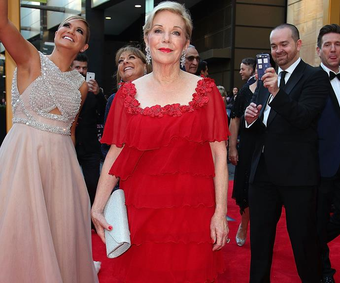 Publishing legend Ita Buttrose never puts a foot wrong and it's no exception tonight. Side note: loving Sarah Harris' photobomb.