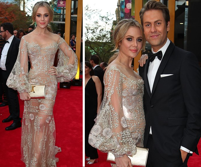 Gold Logie nominee Jess Marais dazzles in this intricate beaded gown. The *Love Child* star was joined by a mystery man.