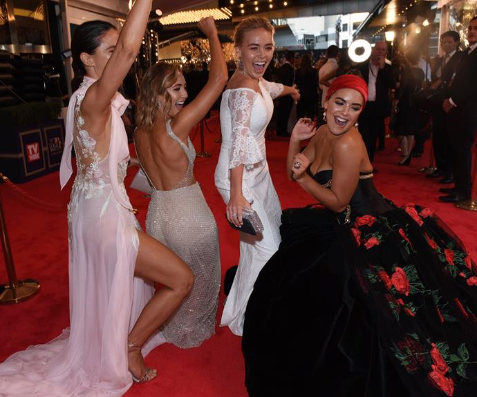 The *Neighbours* stars have a boogie on the red carpet.
