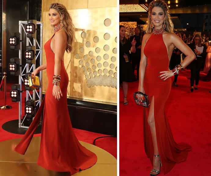 Delta Goodrem goes all out for this red carpet wearing a Steven Khalil gown.