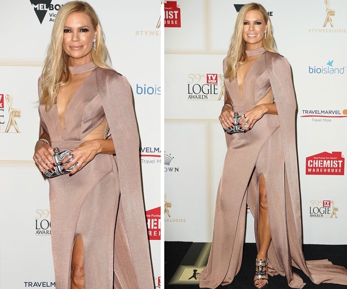 Not everyone can pull of a nude satin dress - but Sonia Kruger can!