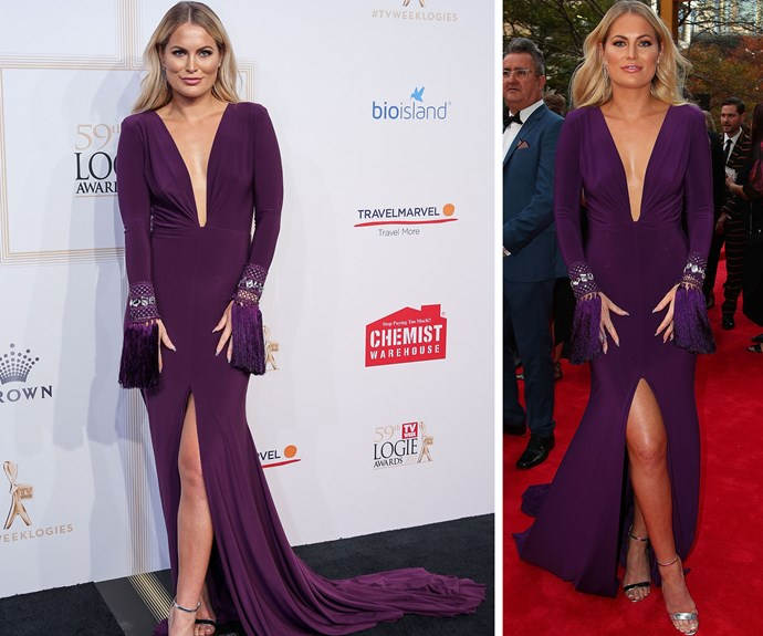 Bachie star Keira Maguire looks great in purple.