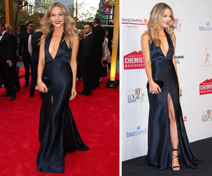 Quick, someone give Sam Frost all the roses because this silky navy dress is all kinds of right.