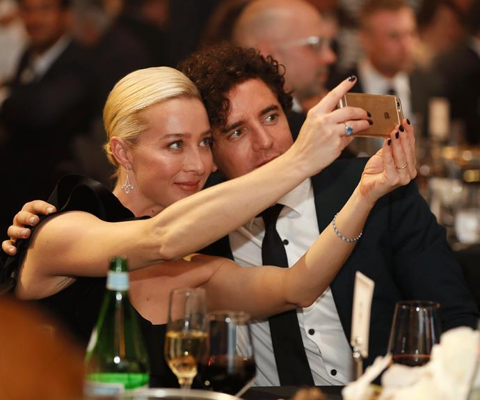 Asher Keddie and Vincent Fantauzzo take a selfie during the ceremony.