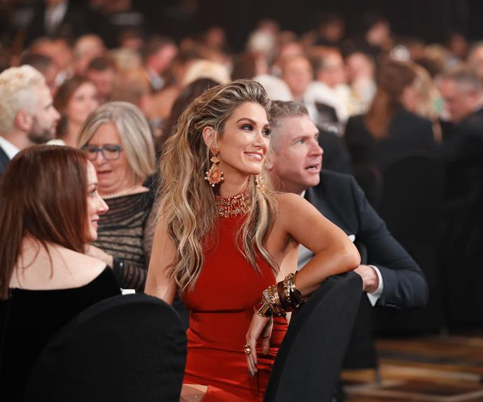 The stunning Delta Goodrem watching the stage.