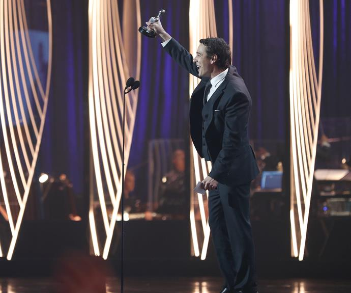 Samuel Johnson accepting his Best Actor Logie Award.