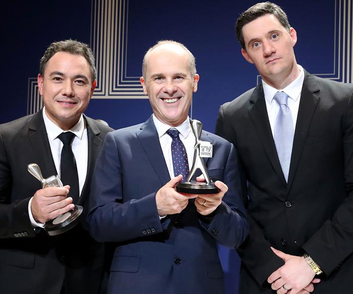 The boys from *Have You Been Paying Attention* - Sam Pang, Tom Gleisner, Ed Kavalee - proudly earnt the award for the Best Entertainment Program.