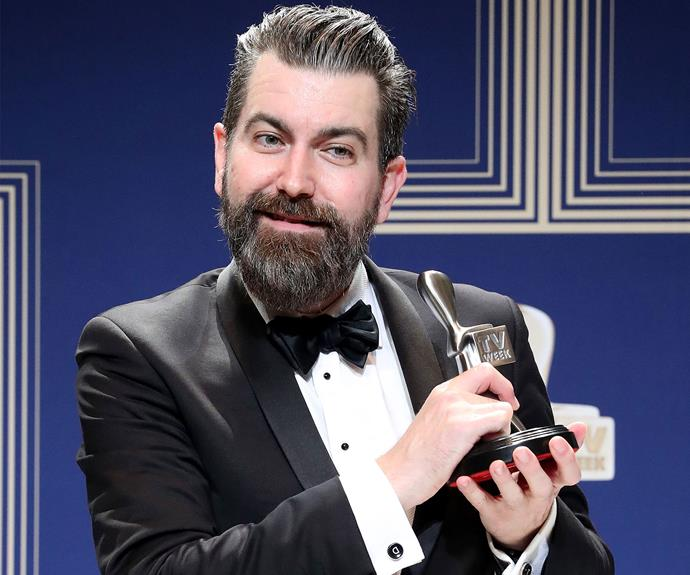 Todd Abbott poses with the Logie for Most Outstanding Comedy Program for *Please Like Me*.