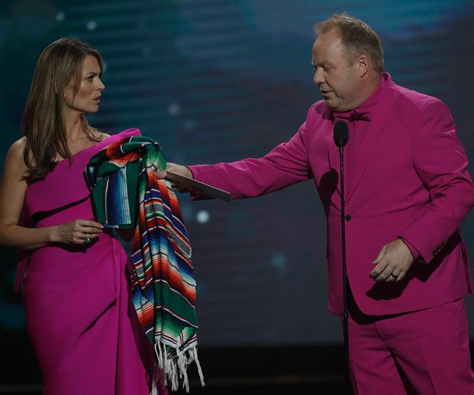 *Offspring's* Kat Stewart and *The Project's* Peter Helliar had a fashion faux pas.