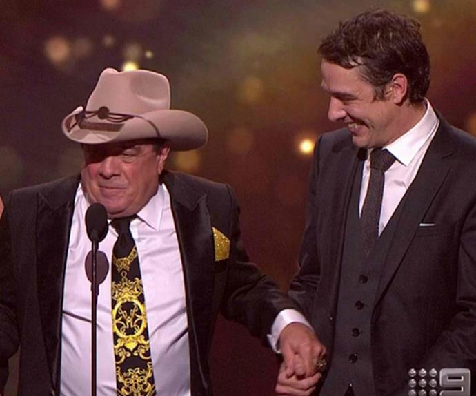 "But the actor made sure his moment in the spotlight was shared with the man he played on screen - [Molly Meldrum.](http://www.nowtolove.com.au/celebrity/tv/samuel-johnsons-gold-logie-acceptance-speech-36937|target=""_blank"")"